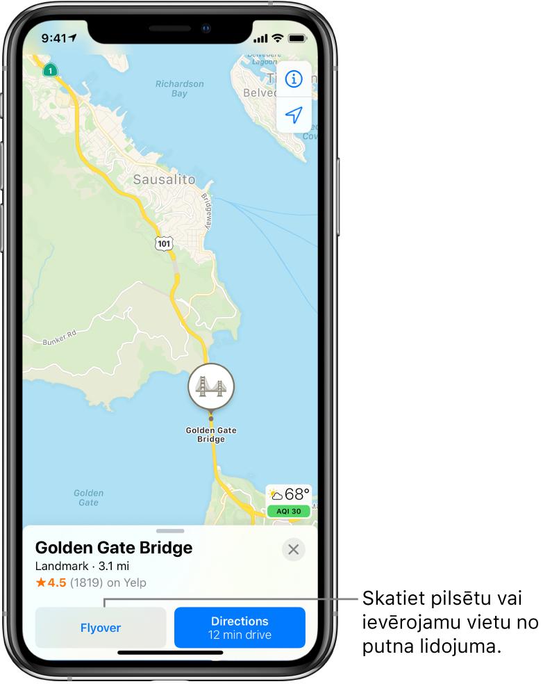 Sanfrancisko karte. Ekrāna apakšdaļā Goldengeitas tilta informācijas kartīte ietver pogu Flyover pa kreisi no pogas Directions.