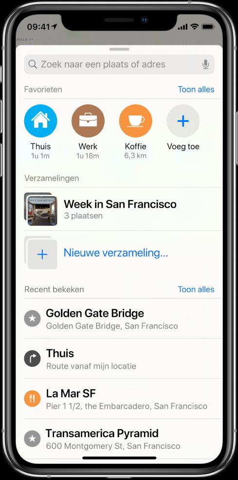 """De zoekkaart vult het scherm. Het gedeelte voor 'Verzamelingen' wordt onder het zoekveld en de favorietenrij weergegeven. In de lijst 'Verzamelingen' zie je een verzameling met de titel """"Week in San Francisco"""" en een optie voor het maken van een nieuwe verzameling."""