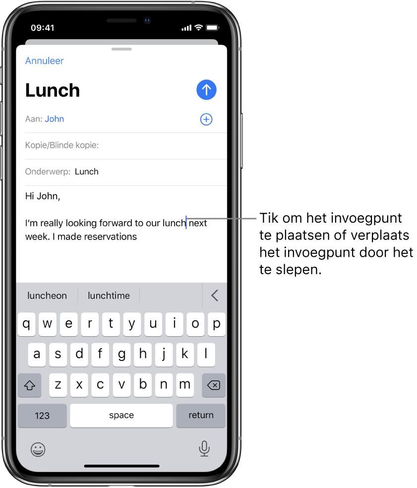 Een conceptmail met het invoegpunt op de plaats waar tekst wordt ingevoegd.