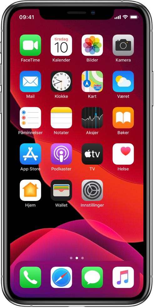 Hjem-skjermen på iPhone i Mørk modus.