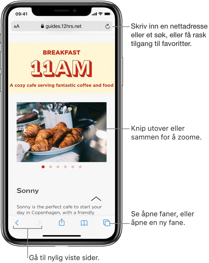 En nettside åpen i et Safari-vindu, med adressefeltet øverst. Nederst, fra venstre til høyre, er Tilbake-, Framover-, Del-, Bokmerker- og Sider-knappene.