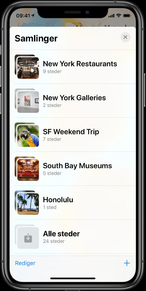 En liste med samlinger i Kart-appen. Samlingene fra øverst til nederst er New York-restauranter, New York-gallerier, SF-helgetur, South Bay-museer, Honolulu og Alle steder. Nede til venstre er Rediger-knappen, og nede til høyre er Legg til-knappen.