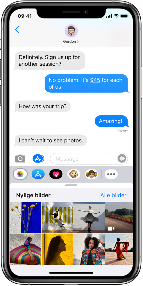 En Meldinger-samtale med Bilder-appen for iMessage nedenfor. Bilder-appen for iMessage viser, fra øverst til venstre, lenkene til Nylige bilder og Alle bilder. Nedenfor det er nylige bilder, og alle disse kan vises ved å sveipe mot venstre.