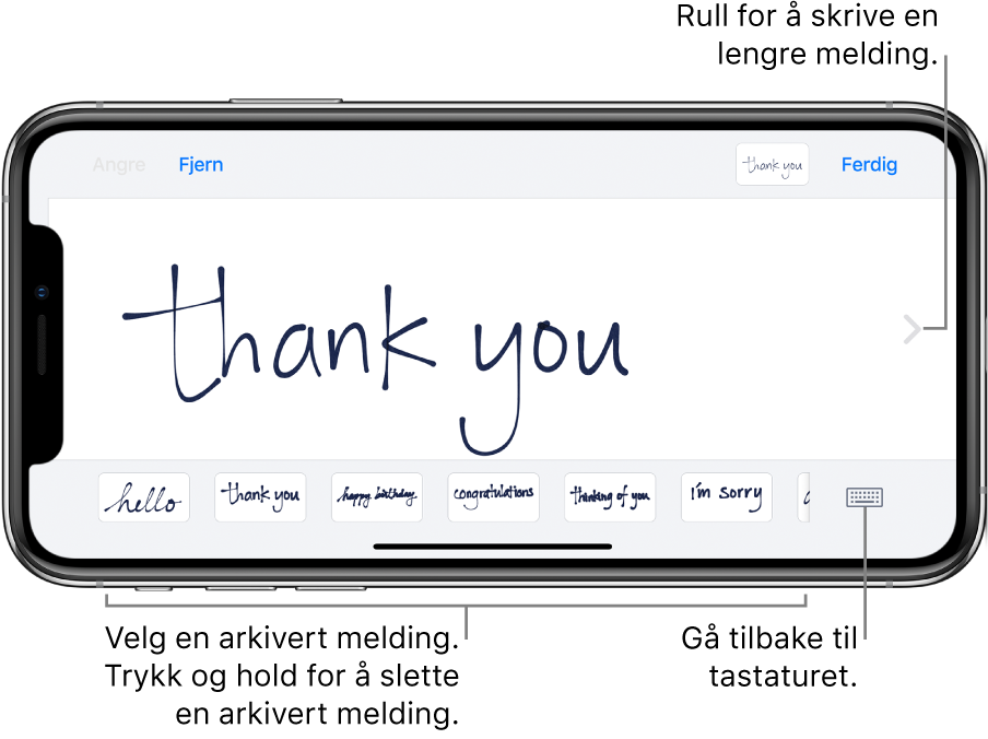 Håndskriftskjermen med en håndskrevet melding. Nederst, fra venstre mot høyre, er arkiverte meldinger og Vis tastatur-knappen.