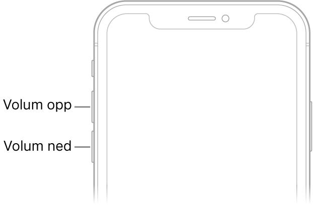 Øverste del av forsiden på iPhone med volum opp- og volum ned-knappene oppe til venstre.