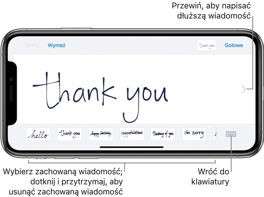 Ekran pisania zwyświetloną wiadomością odręczną. Na dole (od lewej) wyświetlane są zachowane wiadomości oraz przycisk wyświetlania klawiatury.