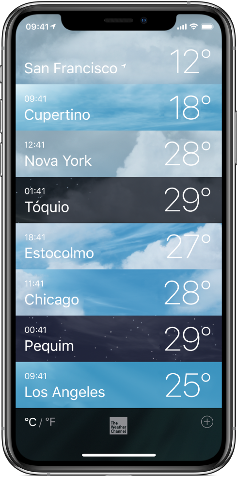 Lista de cidades mostrando a hora e a temperatura atual de cada uma delas.