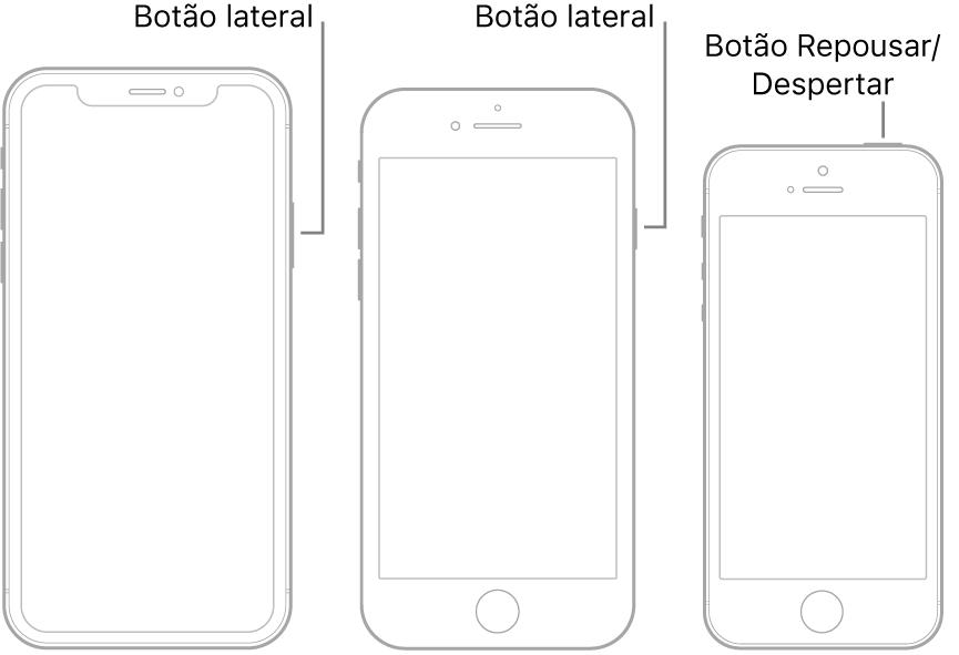 O botão lateral ou o botão Repousar/Despertar em três modelos diferentes de iPhone.