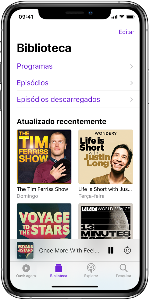 O separador Biblioteca com os podcasts atualizados recentemente.