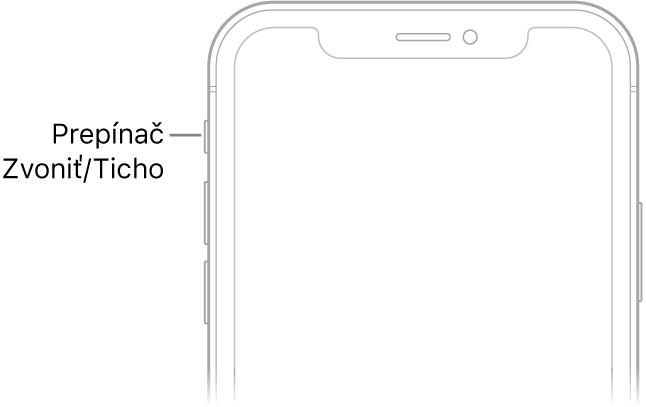 Horná časť prednej strany iPhonu spopisom prepínača Zvoniť/Ticho.