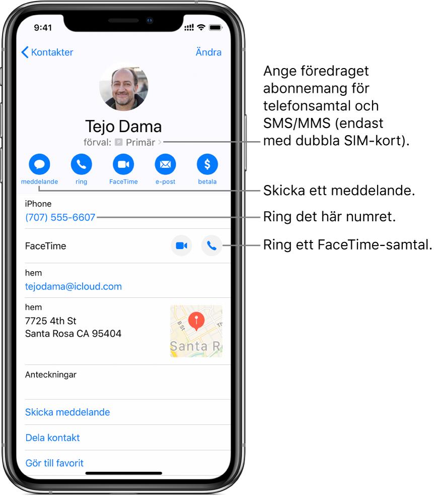 Infoskärmen för en kontakt. Högst upp visas kontaktens bild och namn. Under finns knapparna för att skicka ett meddelande, ringa ett telefonsamtal, ringa ett FaceTime-samtal, skicka ett mejl och skicka pengar med ApplePay. Nedanför knapparna finns kontaktinformationen.