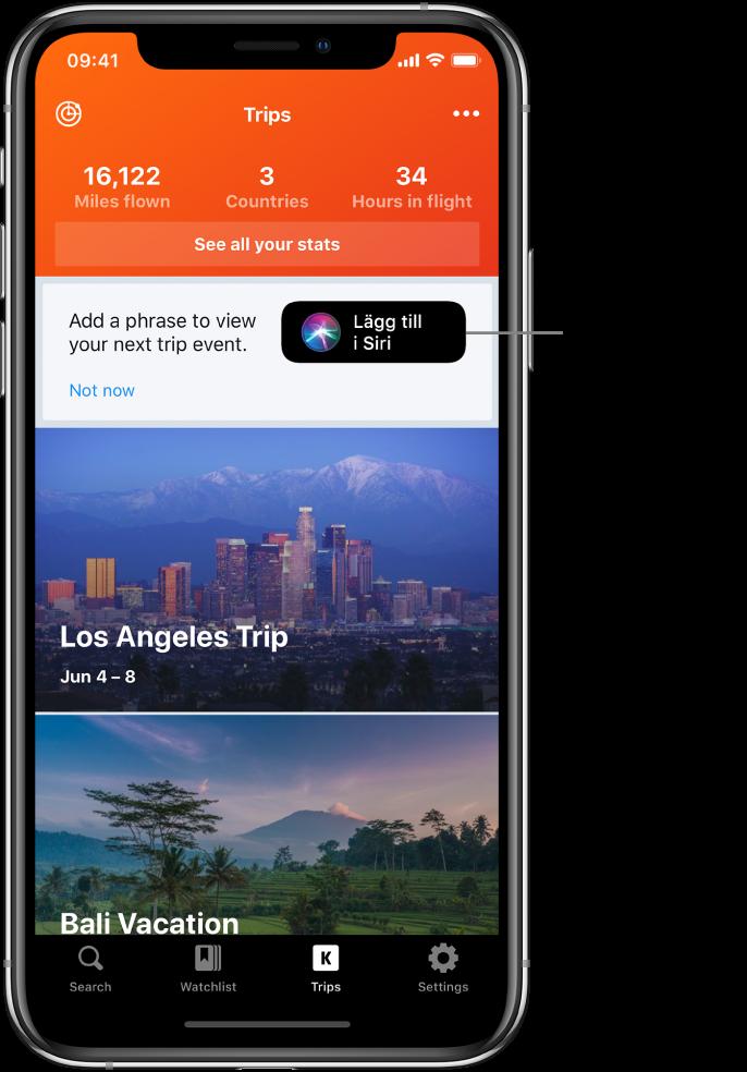 """Skärmen i en reseapp. Knappen Lägg till i Siri finns till höger om texten """"Add a phrase to view your next trip event""""."""