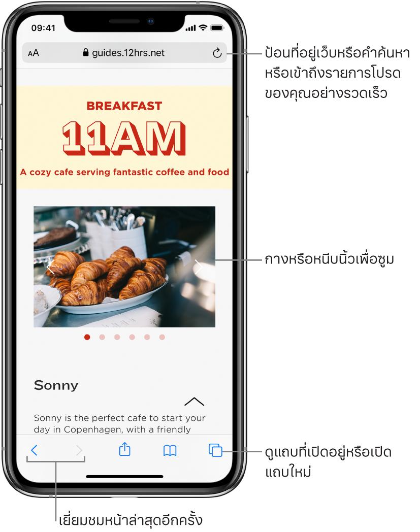 เว็บไซต์ที่เปิดในหน้าต่าง Safari โดยมีช่องที่อยู่เว็บไซต์ด้านบนสุด ที่ด้านล่างสุด เรียงจากซ้ายไปขวา คือปุ่มย้อนกลับ ปุ่มไปข้างหน้า ปุ่มแชร์ ปุ่มที่คั่นหน้า และปุ่มหน้า