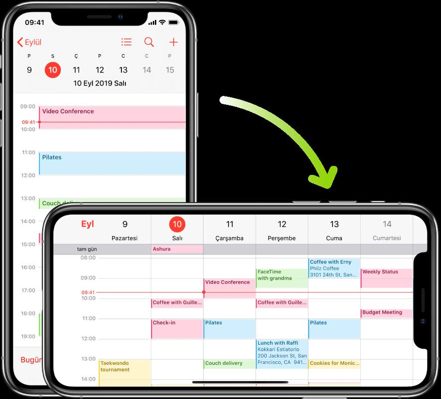 Arka plandaki iPhone'da, bir güne ait etkinlikleri düşey yönde gösteren Takvim ekranı görüntüleniyor; ön plandaki iPhone ise yatay yöne döndürülmüş ve aynı günü içeren haftanın tamamı için Takvim etkinlikleri görüntüleniyor.