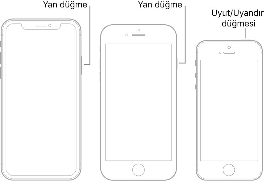 iPhone'da Yan düğmenin ve Uyut/Uyandır düğmesinin konumunu gösteren bir resim.