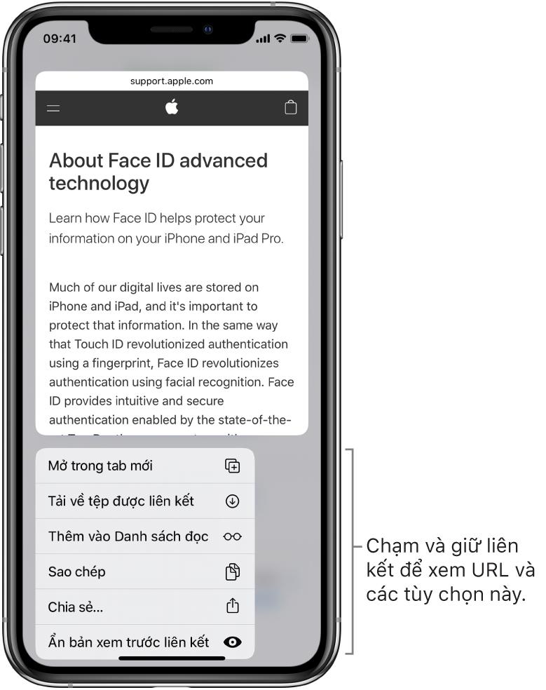 Một lớp phủ đang hiển thị bản xem trước URL địa chỉ đích theo sau một danh sách các tác vụ có thể thực hiện: Mở, Thêm vào Danh sách đọc, Thêm vào Ảnh, Sao chép và Chia sẻ.