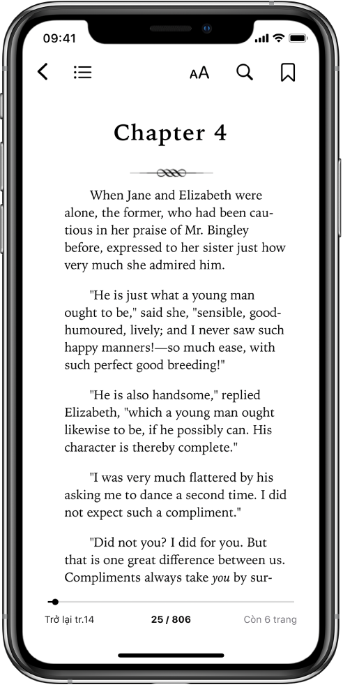 Trang sách mở trong ứng dụng Sách với các nút ở đầu màn hình, từ trái sang phải, để đóng sách, xem bảng mục lục, thay đổi văn bản, tìm kiếm và đánh dấu trang. Có một thanh bên ở cuối màn hình.