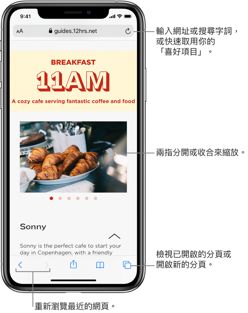 Safari 視窗已開啟網站,頂部有網址欄位。底部由左至右順序為「上一頁」、「下一頁」、「分享」、「書籤」及「頁面」按鈕。
