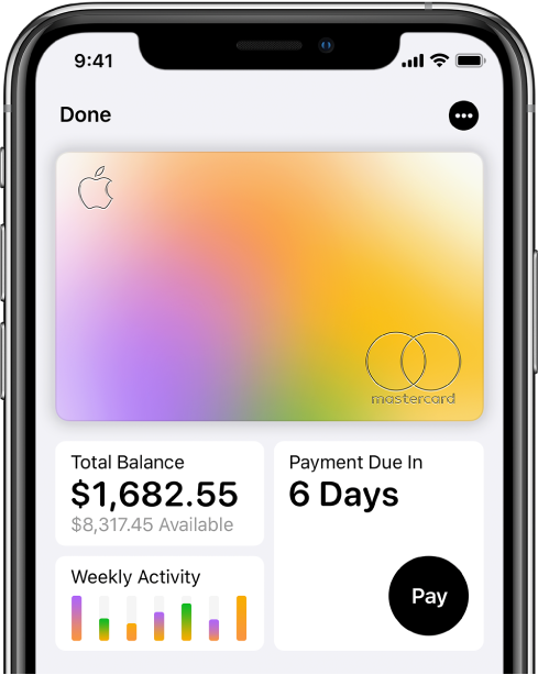 """""""钱包""""中的 AppleCard,右上方显示""""更多""""按钮,左下方显示账单金额和每周活动,右下方显示""""还款""""按钮。"""