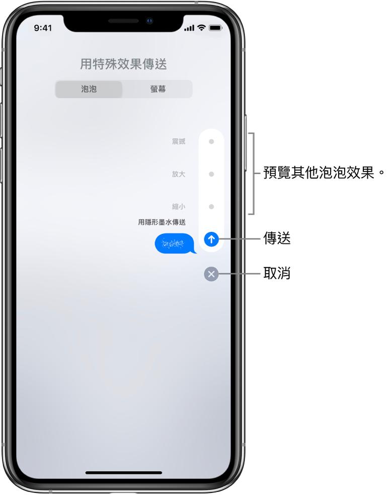 帶有隱形墨水效果的訊息預覽。在右側,點一下控制項目來預覽其他泡泡效果。再點一下相同的控制項目來傳送,或點下方的「取消」按鈕來返回訊息。