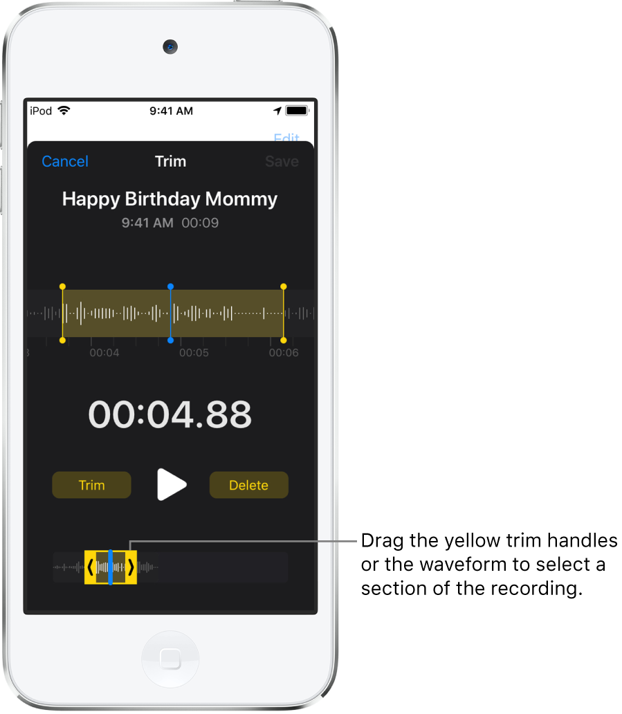 The recording being trimmed with the trim handles enclosing a portion of the audio waveform at the bottom of the screen. A Play button and a recording timer appear above the waveform. The trim handles are below the Play button.