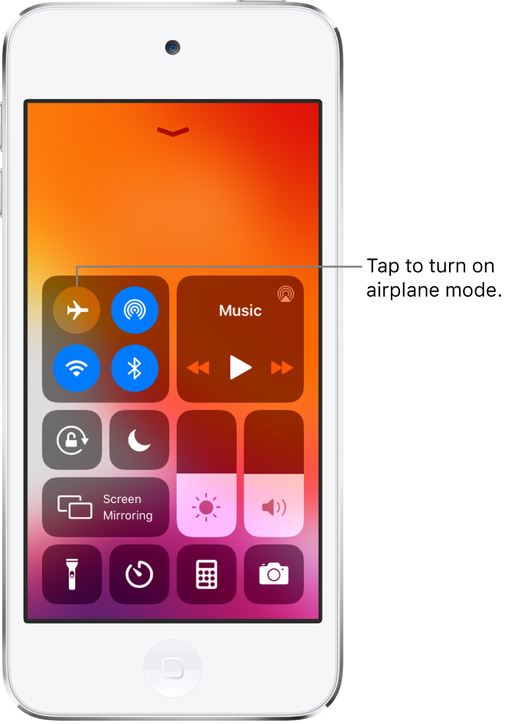 A screen with Control Center with a callout explaining that tapping the top-left button turns on airplane mode.