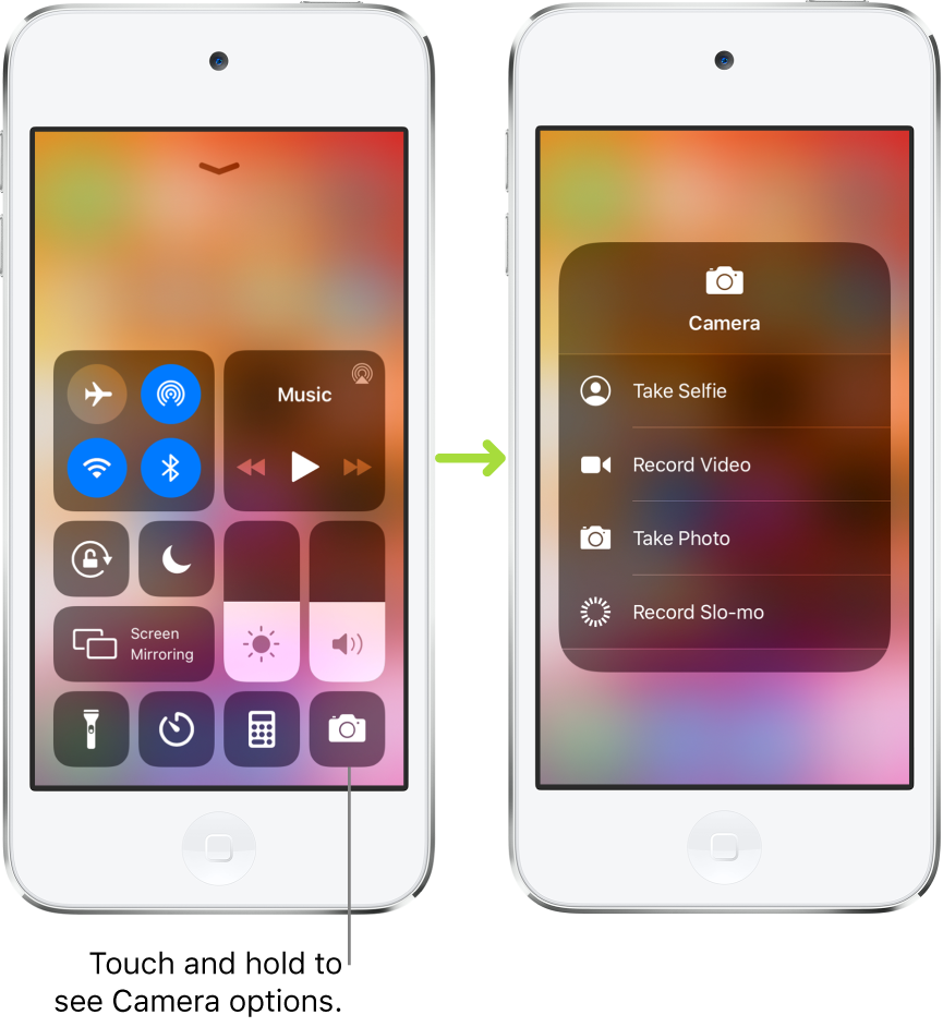 Two Control Center screens side-by-side—the one on the left shows controls for airplane mode, cellular data, Wi-Fi, and Bluetooth in the top-left group, and has a callout that says to touch and hold the Camera icon at the bottom right to see the Camera options. The screen on the right shows the additional options for Camera: Take Selfie, Record Video, Take Photo, and Record Slo-mo.