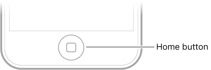 The Home button at the bottom of iPod touch.