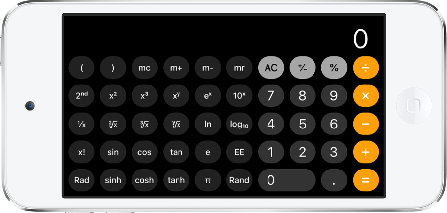 iPod touch in landscape orientation showing the scientific calculator with exponential, logarithmic, and trigonometric functions.