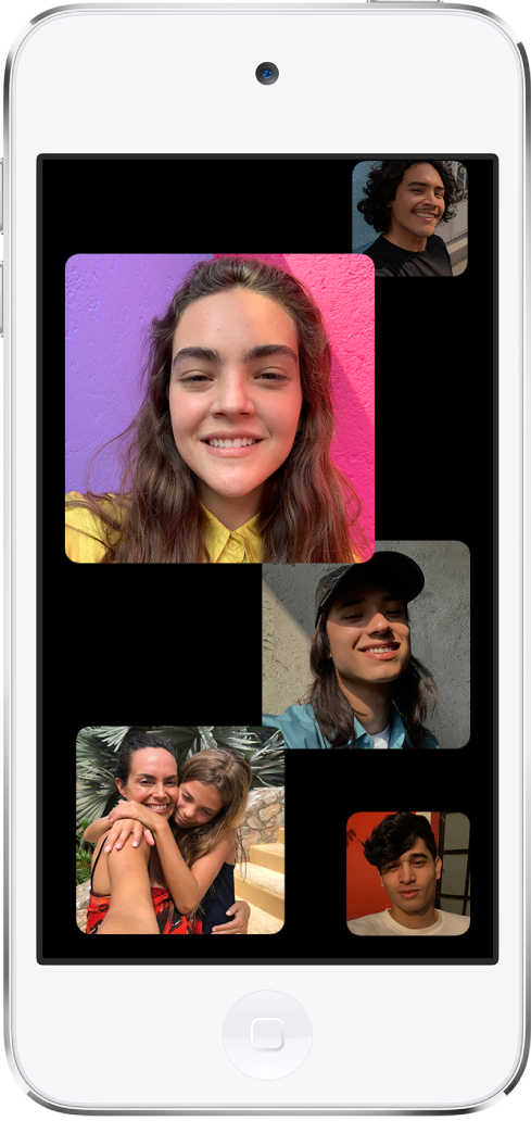 A Group FaceTime call. Each participant on the call appears in a square on the screen.