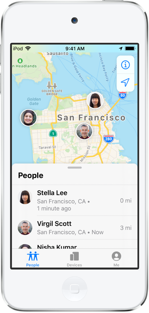 There are three friends in the People list: Virgil Scott, Stella Lee, and Nisha Kumar. Their locations are shown on a map of San Francisco.