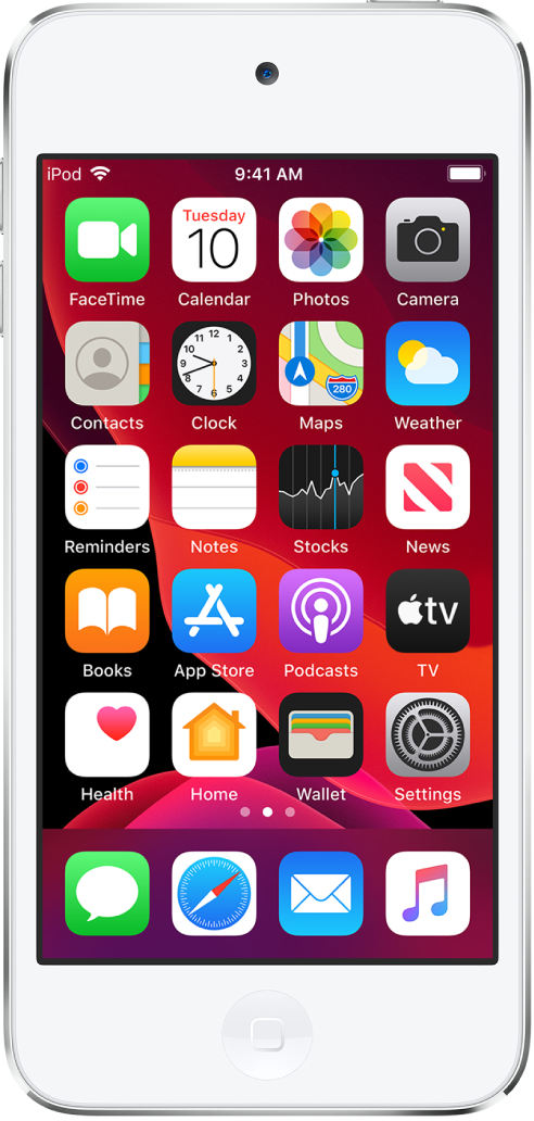 The iPod touch Home screen in Dark Mode.