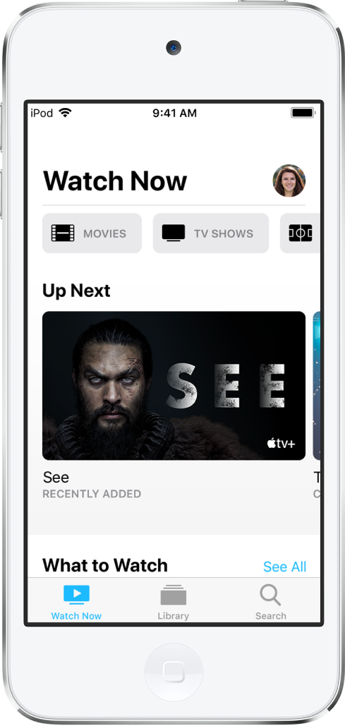 The Watch Now screen showing buttons for Movies, TV Shows, and Sports in the top row. The Up Next row is in the center. At the bottom, from left to right, are the Watch Now, Library, and Search tabs.