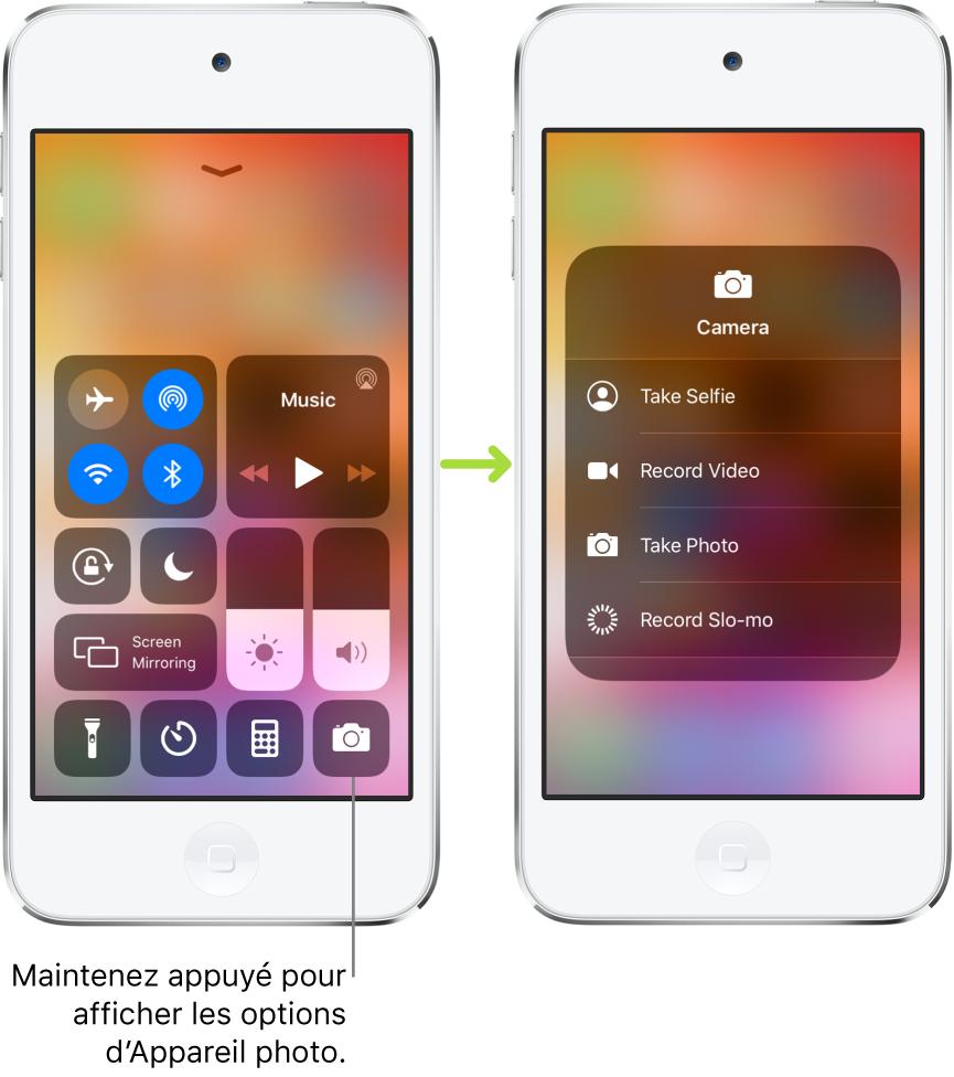 Deux écrans Centre de contrôle côte à côte: celui de gauche affiche les commandes pour le modeAvion, les données cellulaires, le Wi-Fi et le Bluetooth dans le groupe situé en haut à gauche, avec une légende invitant l'utilisateur à maintenir un doigt sur l'icône «Appareil photo» en bas à droite pour afficher les options associées. L'écran sur la droite montre les options supplémentaires pour «Appareil photo»: «Prendre un selfie», «Enregistrer une vidéo», «Prendre une photo» et «Enregistrer un ralenti».