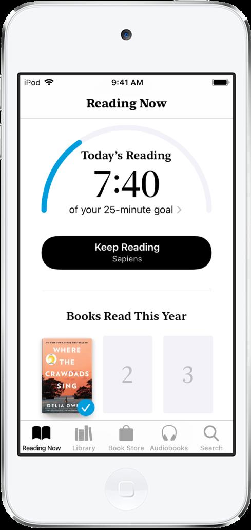 La section «Objectifs de lecture» dans «En cours». Le compteur de lecture indique que 6minutes ont été réalisées sur un objectif de 10minutes. Sous le compteur se trouve un bouton pour poursuivre la lecture et des cercles qui montrent les jours de la semaine, du dimanche au samedi. Le cercle du mardi présente un contour bleu qui indique la progression pour ce jour.