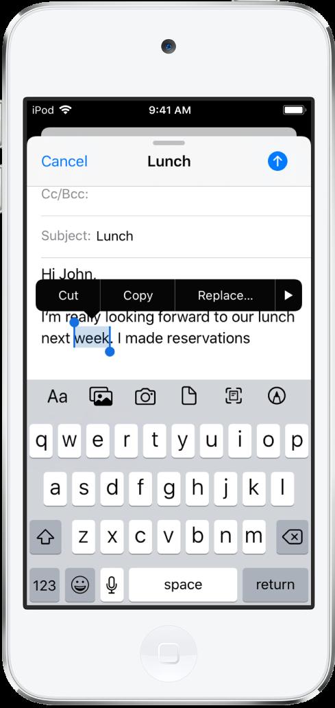 일부 텍스트가 선택되어 있는 예제 이메일 메시지. 선택 부분 위에 있는 오려두기, 복사하기, 붙여넣기, 더 보기 버튼. 선택된 텍스트는 강조 표시되며 양쪽 끝에 이동 점이 있습니다.