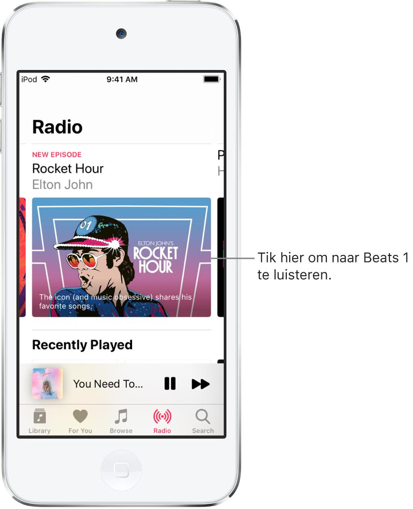 Het Radio-scherm met Beats1 Radio bovenin. Beats1 en radiostations staan in de lijst daaronder.
