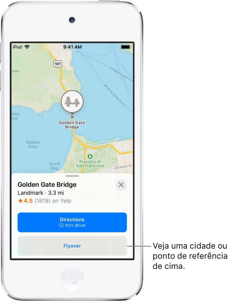Um cartão de informações da Ponte Golden Gate mostra o botão Flyover abaixo do botão Itinerários.