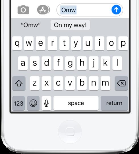 訊息上輸入文字輸入碼 OMY 並在下方顯示「On my way!」建議作為替代文字。