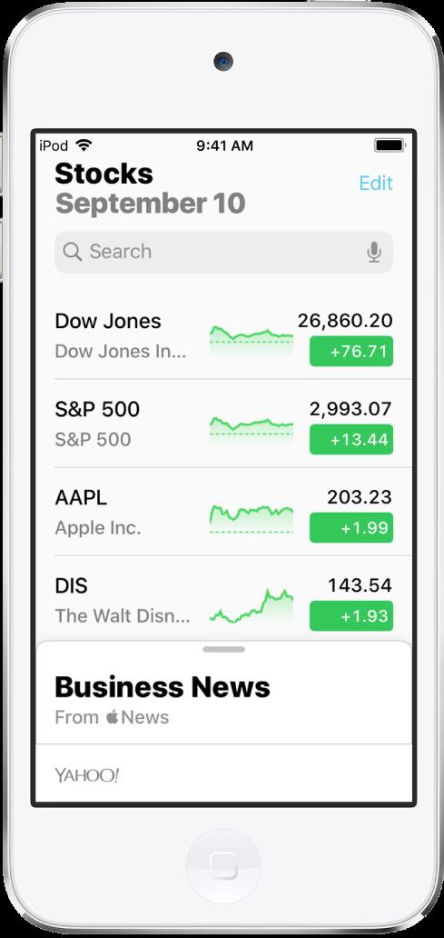 觀察列表顯示不同股票的列表。列表中的每個股票由左至右顯示以下內容:股票代號和名稱、表現圖表、股價和價格更動。螢幕最上方,觀察列表的上方是搜尋欄位。觀察列表下方是「財經新聞」。在「財經新聞」向上滑動來顯示報導。