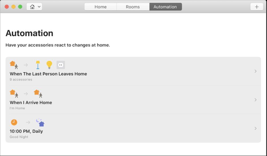 Het scherm 'Automatisering' met accessoire-opties voor wanneer een persoon van huis vertrekt, thuis arriveert en wanneer het tijd is voor bed.