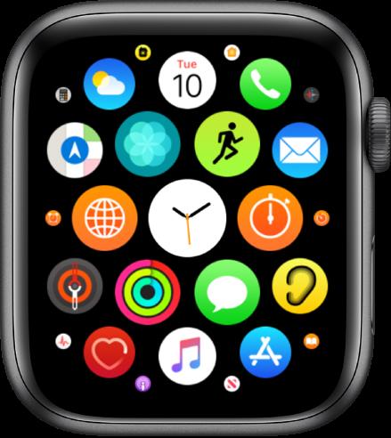Начален екран с преглед с иконки.