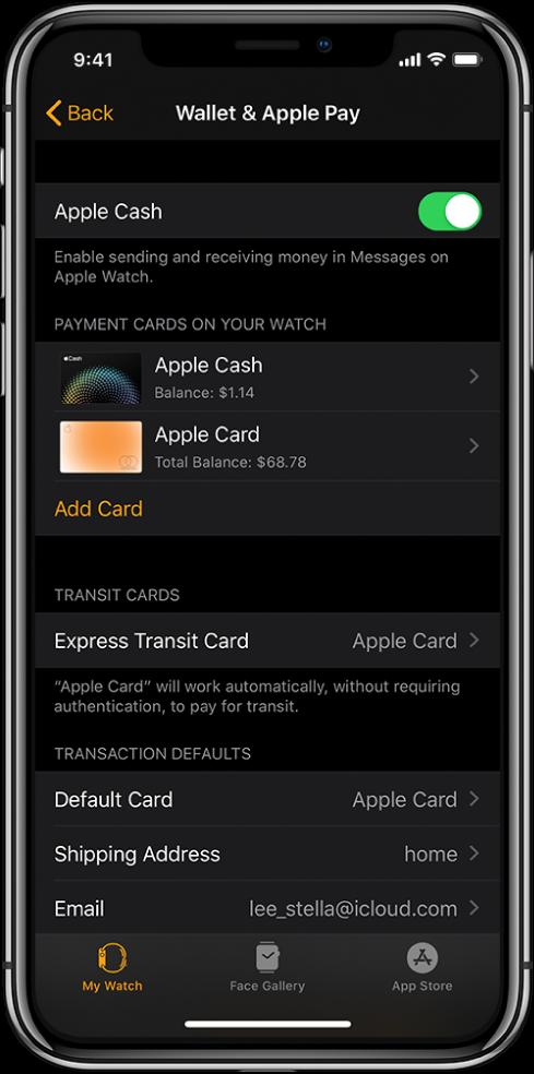 Екранът Wallet & Apple Pay (Портфейл и Apple Pay) в приложението Apple Watch на iPhone. Екранът показва добавените към Apple Watch карти, картата, която сте избрали да използвате за express transit и настройките по подразбиране за транзакция.