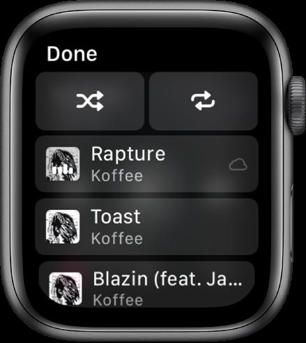 Прозорецът със списък песни, показващ горе бутони за разбъркване и повторени и три песни под тях. Бутон Done (Готово) се появява горе вляво.