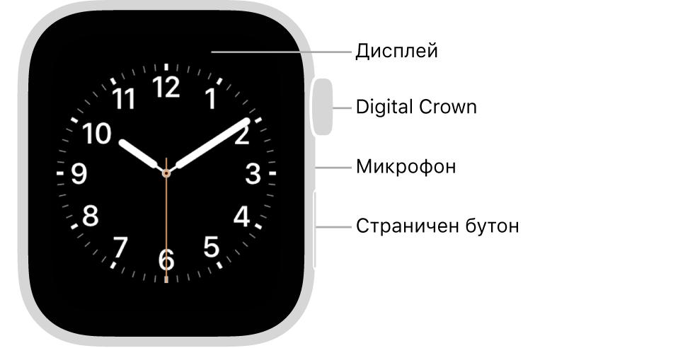 Предната част на Apple Watch Series 5 с надписи, сочещи към дисплей, коронка Digital Crown, микрофон и страничен бутон.