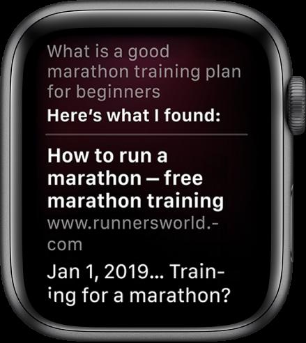 """Siri отговаря на въпроса """"What is a good marathon training plan for beginners"""" с отговор, намерен в уеб."""