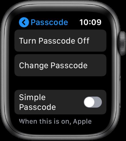 Настройки на кода за достъп на Apple Watch с бутон Turn Passcode Off (Изключване на код за достъп) отгоре, бутон Change Passcode (Промяна на кода за достъп) отдолу и Simple Passcode (Обикновен код за достъп) в в долния край.
