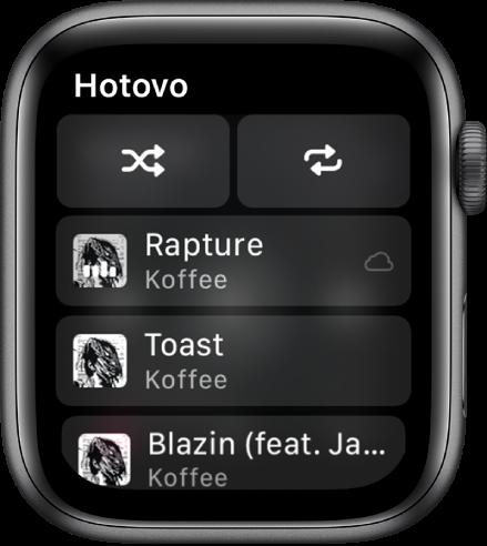 Okno seznamu skladeb stlačítky náhodného přehrávání aopakování nahoře ase třemi skladbami vdolní části. Vlevo nahoře je umístěné tlačítko Hotovo.
