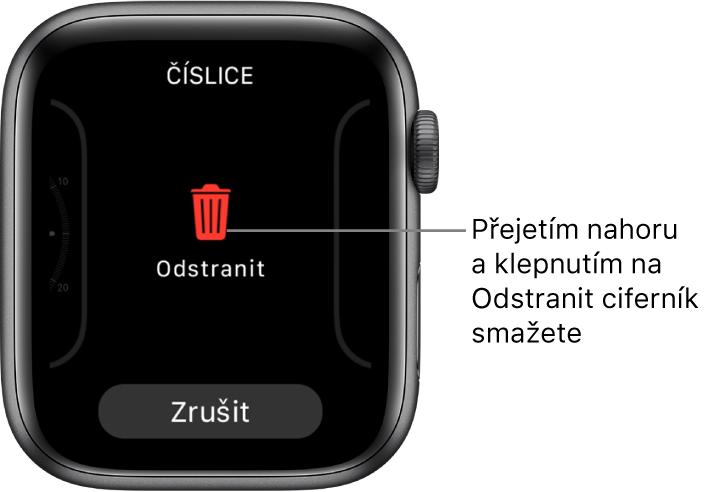 Obrazovka hodinek AppleWatch stlačítky Odstranit aZrušit, která se zobrazí potom, co přejedete na některý ciferník apak přes něj přejedete nahoru, abyste ho smazali.