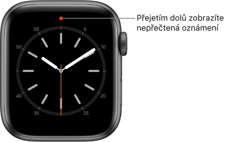Na nepřečtená oznámení upozorňuje červená tečka uprostřed horní části ciferníku.